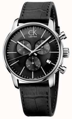 Calvin Klein Mens Watch cinturino in pelle in acciaio nero e acciaio K2G271C3