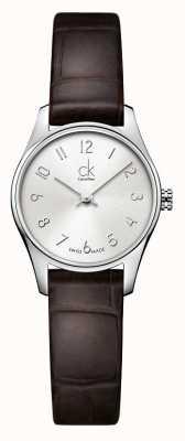 Calvin Klein Signore d'argento classico orologio marrone K4D231G6