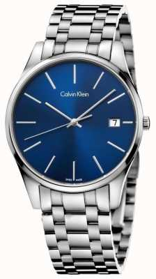 Calvin Klein Tempo Mens orologio blu argento K4N2114N