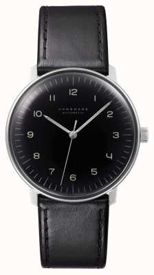Junghans Mens max bill in pelle nera automatica 027/3400.00