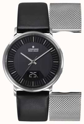 Junghans Mens milano mega solar black leather / milanese set 056/4220.00