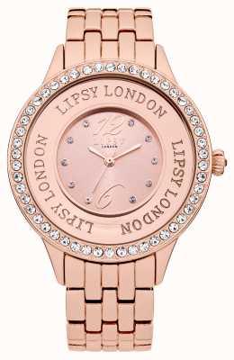 Lipsy Orologio braccialetto a rosa donna con set di cristallo di rosa LP140