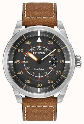 Citizen | uomo eco-drive avion wr100 | cinturino in pelle marrone | AW1361-10H