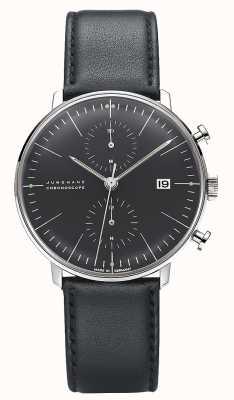 Junghans Cronoscopio max bill | cinturino in pelle nera 027/4601.04