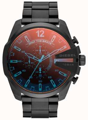 Diesel Mens capo mega, in acciaio IP nero, orologio iridescente DZ4318