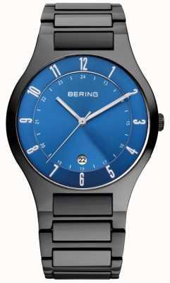 Bering Mens nero titanio, quadrante blu 11739-727