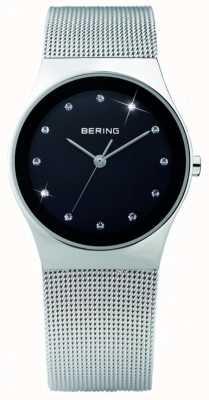 Bering Cristallo da donna | quadrante nero | cinturino in maglia di acciaio inossidabile 12927-002