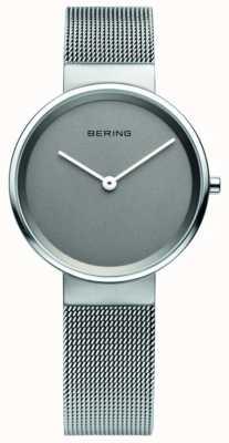 Bering Womens classico, maglia, quadrante grigio, orologio in acciaio 14531-077