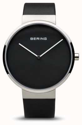 Bering Classico da donna, quadrante nero, acciaio, pelle 14539-402