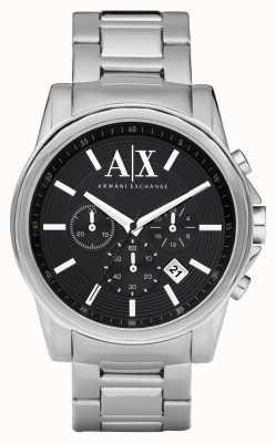 Armani Exchange Mens quadrante nero intelligente del cronografo in acciaio inox AX2084