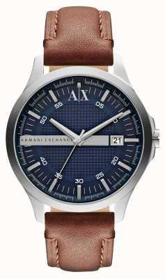 Armani Exchange orologio cinghia di cuoio della data degli uomini AX2133