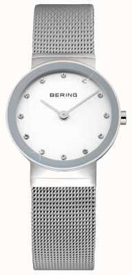 Bering Classico da donna | cinturino in maglia di acciaio inossidabile faccia bianca | 10122-000