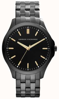 Armani Exchange Uomo intelligente ip placcato accenti d'oro quadrante nero AX2144