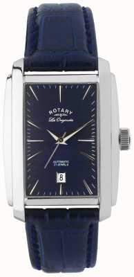 Rotary Gents pelle blu orologio analogico automatica LE90012/05