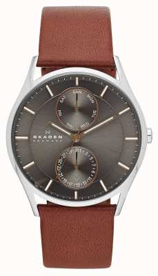 Skagen Mens Holst orologio cinturino in pelle marrone SKW6086