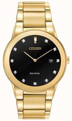 Citizen | uomo axiom eco-drive | quadrante nero con diamanti | AU1062-56G