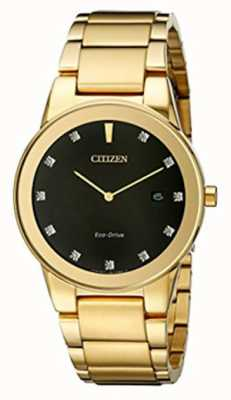 Citizen | uomo axiom eco-drive | quadrante nero con diamanti | AU1062-56G