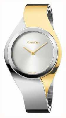 Calvin Klein Delle donne sensi, due tonalità, oro e piccolo orologio in acciaio K5N2S1Y6