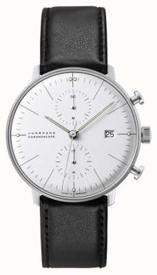 Junghans Cronografo Max bill | automatico | cinturino in pelle nera 027/4600.04