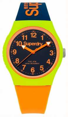 Superdry Navy urbana watch cinturino in silicone arancione SYG164MU