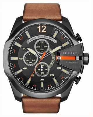Diesel Mens mega capo nero marrone orologio cronografo DZ4343