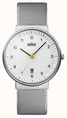 Braun Mens d'argento orologio bianco BN0032WHSLMHG