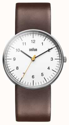 Braun Mens bianco orologio marrone BN0021WHBRG