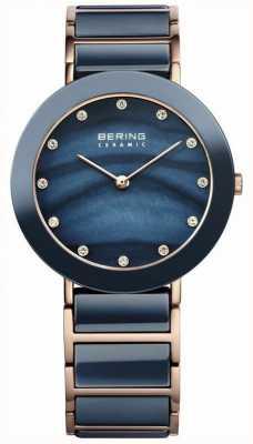 Bering Signore blu ceramica, oro rosa, perle, pietre 11435-767