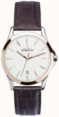 Michel Herbelin Gents lira in acciaio e cinturino in oro rosa orologio 12213/TR12MA