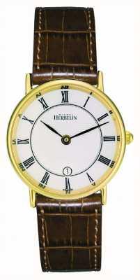Michel Herbelin Placcato oro signore cinturino in pelle classica 16845/P08GO