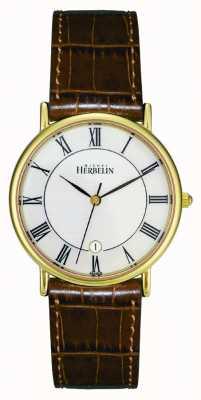 Michel Herbelin Placcato Mens pvd oro orologio, pelle marrone 12443/P08GO