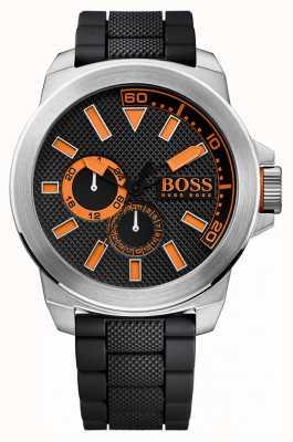 Hugo Boss Orange Acciaio inox Gents, cinturino in caucciù nero 1513011