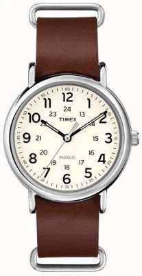 Timex Originali Weekender cinturino in pelle marrone T2P495