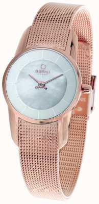 Obaku Onorevoli pvd rosa piatto d'oro braccialetto della maglia V130LXVWMV