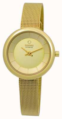 Obaku Onorevoli pvd piatto d'oro braccialetto della maglia V146LXGGMG