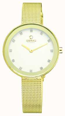 Obaku Donna sottile lamina d'oro pvd braccialetto della maglia V161LXGIMG