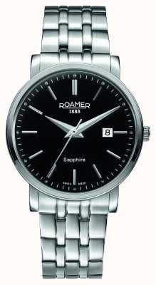 Roamer Linea classica | bracciale in acciaio inossidabile | quadrante nero 709856-41-55-70