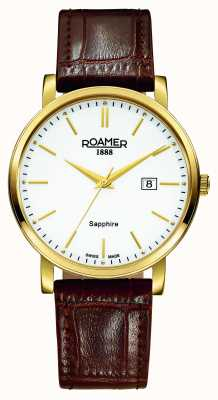 Roamer Linea classica | cinturino in pelle marrone | quadrante bianco 709856 48 25 07