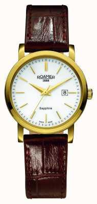Roamer Linea classica | cinturino in pelle marrone | quadrante bianco 709844 48 25 07