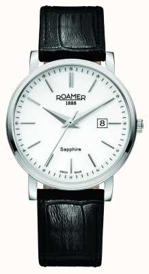 Roamer Linea classica | cinturino in pelle nera | quadrante bianco 709856 41 25 07