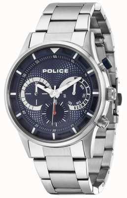 Police autista Mens quadrante blu in acciaio inox 14383JS/03M