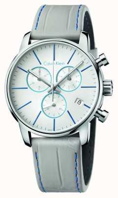 Calvin Klein città cronografo cinturino in pelle grigio Mens K2G271Q4