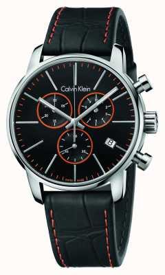 Calvin Klein Città cronografo Uomo cinturino in pelle nera K2G271C1