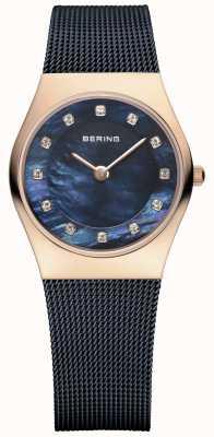 Bering Signore blu della maglia cinghia pvd cassa in oro rosa 11927-367