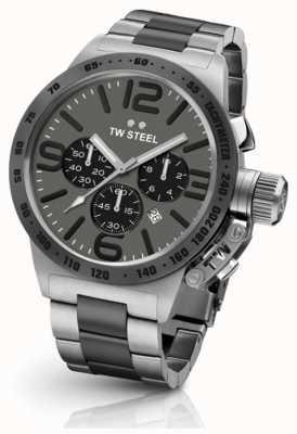 TW Steel Mens mensa 45 millimetri crono due toni quadrante grigio CB203