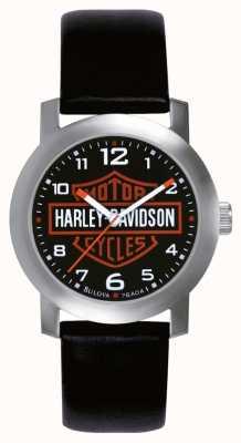Harley Davidson Mens Watch cinturino in pelle nera 76A04