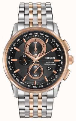 Citizen Mens eco-drive mondo crono in acciaio e oro rosa AT8116-57E