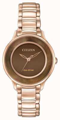 Citizen Eco-drive rosa cerchio d'oro di marrone tempo EM0382-86X