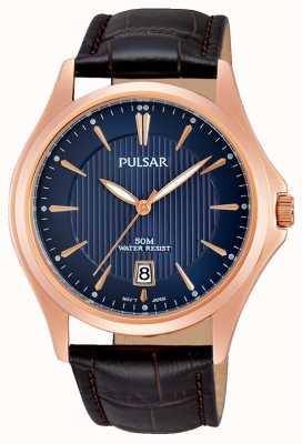Pulsar Mens cinturino in pelle marrone quadrante blu PS9388X1