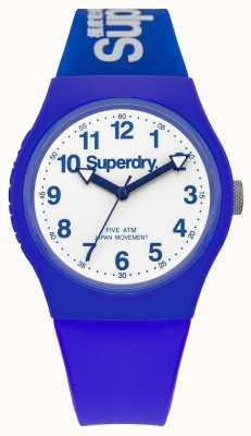 Superdry Quadrante bianco cinturino in gomma blu urbano Gents SYG164U